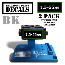 """7.5-55mm Reloading Press Decals Ammo Labels Sticker 2 Pack BLK/GRN 1.95"""" x .87"""""""