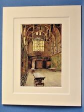 THE GREAT HALL HAMPTON COURT VINTAGE DOUBLE MOUNTED WATER COLOUR PRINT c1920