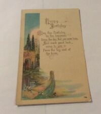 Vintage Paper Ephemera, Postcard 1925, Happy Birthday Greeting