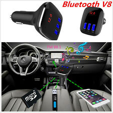 Car FM Bluetooth Transmitter Wireless MP3 Radio Adapter Triple USB Ports Charger