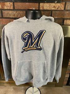 Milwaukee Brewers MLB Baseball Hooded Hoodie Sweatshirt Mens Size Medium Gray