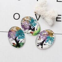 3 Glascabochons Cabochons Perlen zum Kleben mit Schmetterling Lila Blumen Mix
