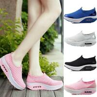 New Women's Casual Breathable Sneakers Slip On Loafers Sport Mesh Shoes Trainers