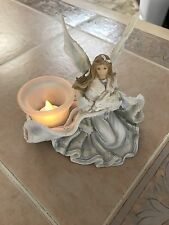 Heavenly Angel and Bunnies ~  Ceramic Tea Light Holder