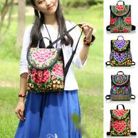 Women's Ladies Floral Embroidered Backpack Ethnic Travel Shoulder Bag Rucksack