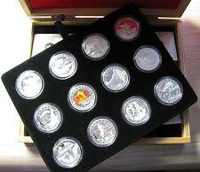 2013 O Canada 12-Coin 1/2 oz Fine Silver Coin Subscription Set with Wooden Box