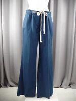 Nautica Womens 8 Blue Linen/Cotton Blend Wide Leg Tie Front  Pockets Pants