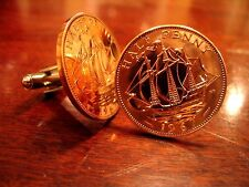 Vintage Bronze English Clipper Ship Half Penny Coin Cufflinks