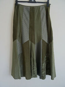 Per Una Lace Cord Patchwork Maxi Flare Green Skirt UK 14R