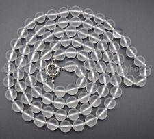 Beautiful Handmade 8mm Matte White Crystal Round Gemstone Beads Necklace 16-36''