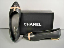 CHANEL CLASSIC BLACK LEATHER BEIGE INSET FLATS GOLD HEELS SHOES CC 36.5/6 NEW