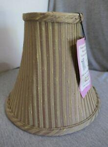 "NEW Light Green Gold & Brown Striped Fabric & Brass Bell Lamp Shade 10"" W x 9"" H"