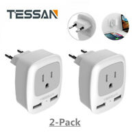 1 Outlet 2 USB Port Travel Plug Adapter for USA to Most of Europe Travel -2 Pack