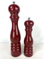 "Peugeot Salt & Pepper Mill Grinder Set 9"" 12"" Tall Red Lacquer Wood Paris France"