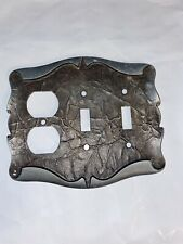 AMEROCK CARRIAGE HOUSE DOUBLE SWITCH PLATE OUTLET COVER COMBO ANTIQUE SILVER