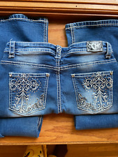 """(28) """"COWGIRL HARDWARE"""" bling jeans super soft-stretchy girls sz 16"""