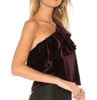 NWT Misa Purple Velvet Ruffle One Shoulder Agus Blouse Top Women's Size S NEW