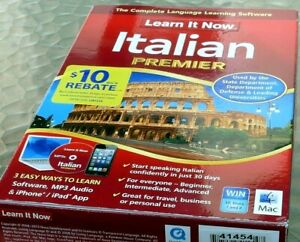 Learn it now Italian Premier complete language Software for Mac/Windows - used