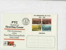 Zimbabwe 1980 75th Ann. of Post Office Savings Bank FDC 4xStamps Cover ref 22876