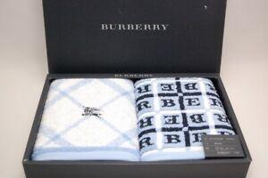 BURBERRY Nova Check Blue Towel 2 Piece Set 100% Cotton Face Towel 474 5556