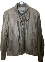 Remy Leather Bomber Jacket Mens Size 42 Soft Brown Double Collar Full Zip
