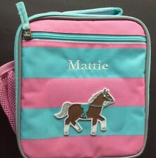Pottery Barn Kids lunch bag box, Pink, horse monogramed with Mattie Nwot Pbt