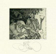 Exlibris by K. Kalinovich BAССHUS Original Signed E.A.