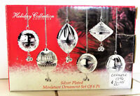 """Beautiful Set of 6 Christmas Ornaments """"New"""" in Box Silver Plated  Miniatures"""