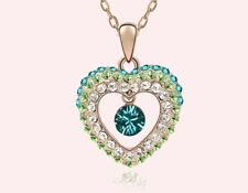 Free shipping Womens 9K Rose Gold Filled & AAA CZ Necklace with Pendant I82-a