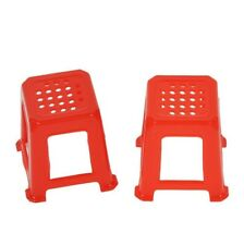 Casa de muñecas muebles miniaturas de plástico taburete silla rojo 2er set 600