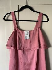 BNWT H&M Size 14 Sleeveless Silky Pink Strappy Dress Knee Length Satin Polyester