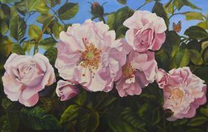 Virgia West Glory of Floribundas Pink Roses Original Oil Painting  24x36