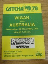 08/11/1978 Rugby League Programme: Wigan v Australia [Tour Match] (minor fold).
