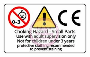 Choking Hazard Stickers Small Parts Under 3 Years Old Rectangle x 21 Stickers