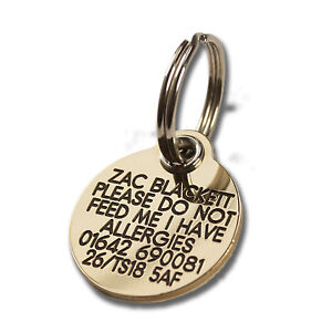 REINFORCED Deeply engraved dog tag, 27mm extra tough solid brass