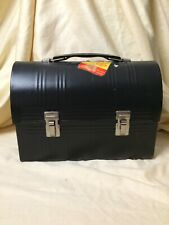 Vintage Domed Coal Miner Lunch Box and Thermos Aladdin Black PLEASE READ