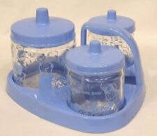 Vintage Nursery Set Three Cvd Glass Jars and Carrier Round the Clock w Baby