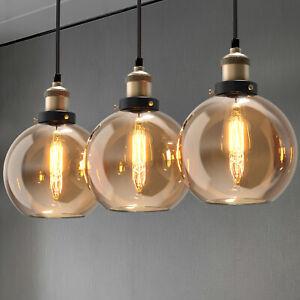3X Retro Amber Glass Pendant Light Kitchen Island Bar Lamp E27 Industrial
