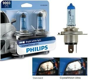 Philips Crystal Vision Ultra 9003 HB2 H4 60/55W Two Bulbs Head Light High Low OE