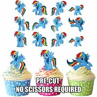 PRECUT My Little Pony Rainbow Dash 12 Edible Cupcake Toppers Cake Decorations