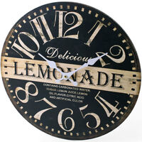 Retro Vintage Style Shabby Chic Lemonade Kitchen Wall Clock - NEW