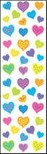 Mrs. Grossman's Stickers - Happy Hearts - Neon Small Hearts - 4 Strips