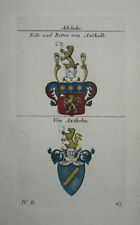 1821 Wappen Adelige Edle und Ritter von Axthalb von Axthelm 2 Wappen koloriert