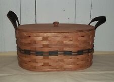 Handcrafted Sewing Basket with Lid and Strap Handles