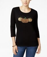 Karen Scott Womens Blouse Scoop Neck 3/4 Sleeve Embellished Pumpkin Black PS New