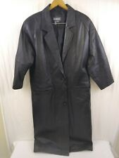 Maurices Womens 2 Button Full Length Soft Black Leather Coat Size Small. EUC