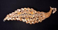 STATEMENT RHINESTONE DIAMANTE CHUNKY PEACOCK BROOCH GOLD