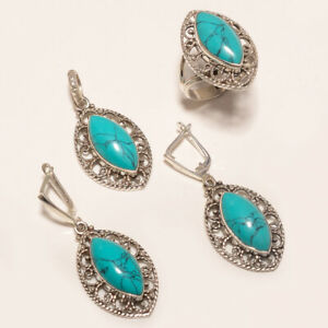 Natural Afghan Blue Turquoise Ring Earring Pendant 925Sterling Silver Women Fine