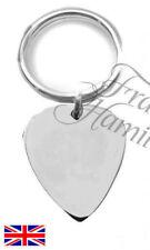 Music Guitar Sterling Silver Engraved Keyring