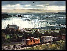 "VINTAGE 1962 ""NIAGARA FALLS"" RAILROAD TRAIN CALENDAR ART PRINT BY KINELY SHOGREN"